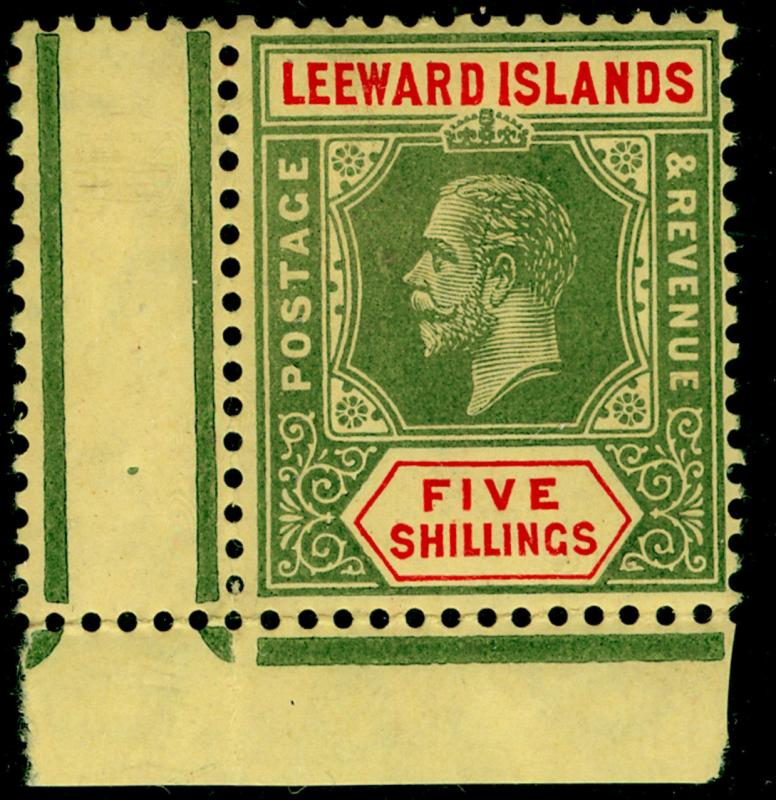 LEEWARD ISLANDS SG57b, 5s, NH MINT. Cat £50+ MULT CA. ON LEMON. CORNER MARGINAL
