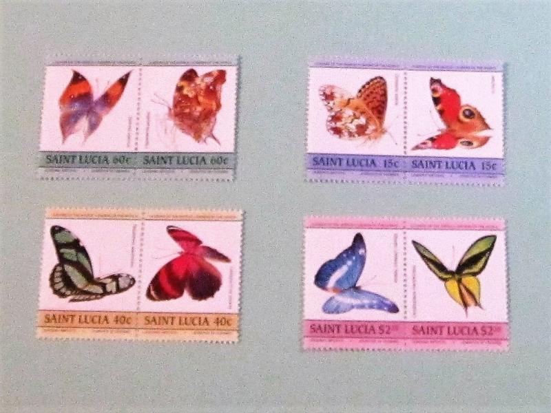 St. Lucia - 731-34, MNH Set (Pairs). Butterflies. SCV - $3.30