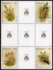 Guyana 1985 ORCHIDS CROSS BLOCK OF 4 MNH