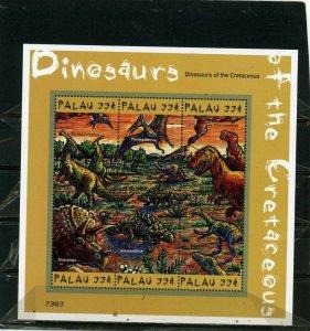 PALAU 2000 PREHISTORIC ANIMALS/DINOSAURS SHEET OF 6 STAMPS MNH