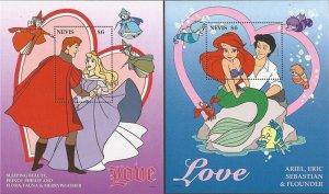 Nevis - 1996 Disney Sweethearts Sleeping Beauty Ariel - Set of 2 S/S #977-8