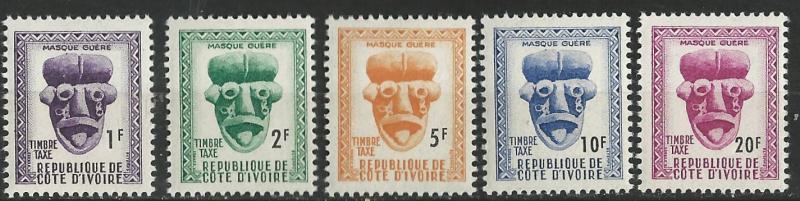 Ivory Coast # J19-23  Postage Dues - masks   (5)  VF Unused VLH