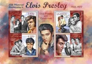 Uganda - Elvis Presley with Celebrities - 4 Stamp  Sheet - 21D-025