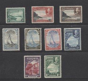 STAMP STATION PERTH Bermuda #105-113 KGV Short Set to 1/-  MH - CV$70.00