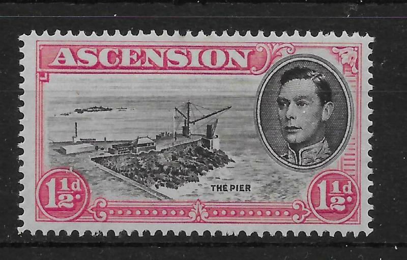 ASCENSION SG40ea 1949 1½d BLACK & CARMINE DAVIT FLAW MTD MINT
