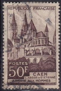 France 674 USED 1951 Abbey of Man 50Fr