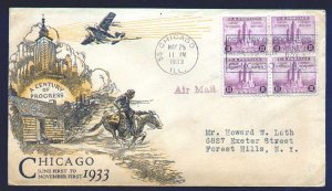 US #729 FIRST DAY COVER, Chicago, COLOR CACHET,  Block of 4,  SUPER NICE!
