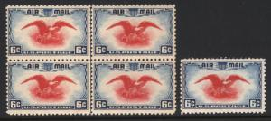 C23c 6c Ultra & Carmine 1938 Air Post Error C/L Block of 4 MNH