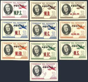 Ecuador D176-D185 Michel,MNH. Official stamps 1949.Roosevelt,Map,Plane.