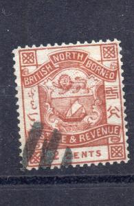 NORTH BORNEO Queen Victoria 1886 2  Cents Brown  SG 25 VFU