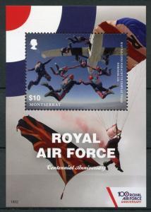 Montserrat 2018 MNH Royal Air Force RAF Falcons 100th 1v S/S Aviation Stamps