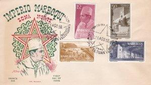 Morocco Northern Zone # 1-4, Sultan & Villa, First Day Cover