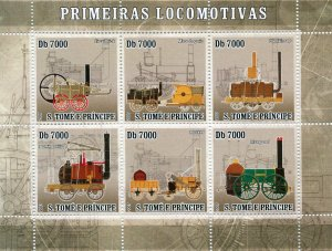 Sao Tome & Principe 2007 FIRST LOCOMOTIVES Sheet Perforated Mint (NH)