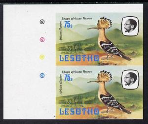 Lesotho 1981 Hoopoe 75s def in unmounted mint imperf pair...