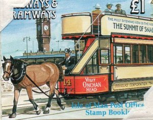 Isle of Man Sc 459b 1991 Trains stamp booklet mint NH