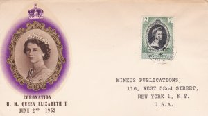 Montserrat # 127, Queen Elizabeth's Coronation First Day Cover