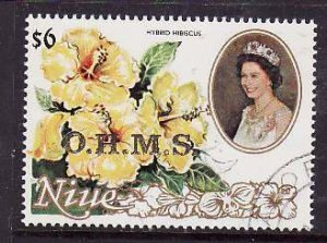 Niue-Sc#O16- id5-used Official $6.00-Flowers-1985-7-