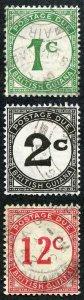 British Guiana SG D1 D2 D4 1c Post Due set on Ordinary Paper (KGVI) Fine Used