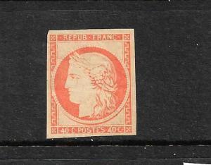FRANCE  1849-52  40c  RED ORANGE  CERES MLH 4 MARGINS    SG 15