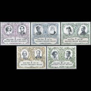 BELGIUM 1980 - Scott# B992-6 Indep.-Kings Set of 5 NH