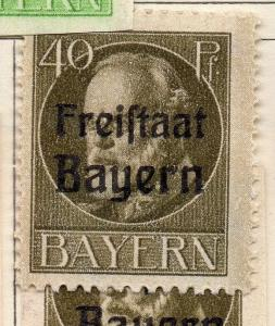 Bavaria 1919 Early Issue Fine Mint Hinged 40pf. Optd 109433