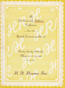 E. G. Stillman, Part I, H.R. Harmer Auction Catalog, Sale 594-6, May 22-24, 1950