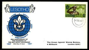 LESOTHO – 1967 60th Anniversary of Scout Movement FDC