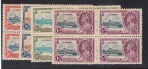 Gambia #125 - #128 (SG #143a/#145a) VF/NH Blocks Each With Extra Flagstaff Var