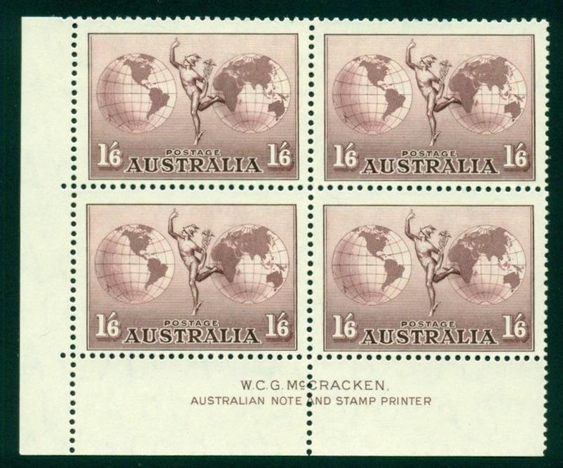Australia Scott #C5 MNH Inscription BLOCK Mercury and Hemisphere Globe CV$58+
