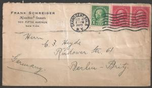 1927 1c & two 2c Washington, Grand Cent. Sta. 6 NY, Berlin Germany corner card