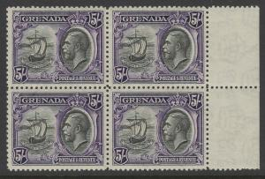GRENADA SG144 1934 5/- BLACK & VIOLET MTD MINT BLOCK OF 4(2xMNH)