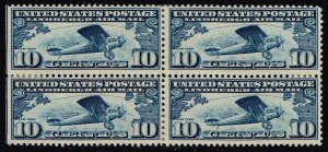 US STAMP BOB AIR MAIL #C10 10c Air Mail 1926 MH/OG BLK OF 4