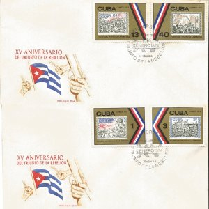 J) 1974 CARIBE, XV ANNIVERSARY OF THE TRIUMPH OF THE REBELLION, STAMPS ON STAMPS