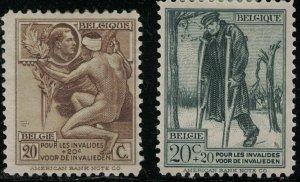 Belgium SC B51-B52 Art:WoundedVeteran&AllegoryAskingAlmsForTheCrown (H)1922-1923