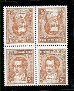 #333 ARGENTINA 1935 VARIETY MORENITO,5 CTS TETEBECHE INV PAIR GJ 795TB MNH/MH