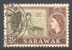 Sarawak Scott 205 - SG196, 1955 Elizabeth II 20c used