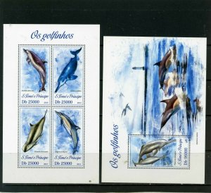 ST.THOMAS & PRINCE 2013 DOLPHINS SHEET OF 4 STAMPS & S/S MNH
