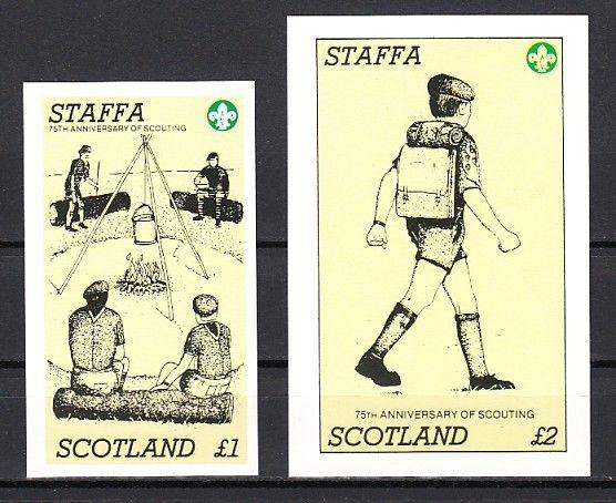Staffa, Scotland Local. 1982 issue. 75th Scouting Anniversary s/sheets
