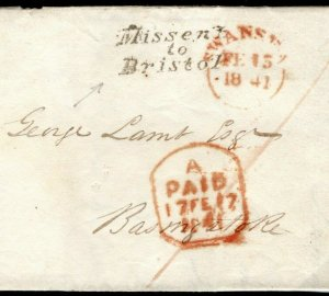 GB Wales Cover  *MISSENT TO BRISTOL* Swansea Entire Letter EL 1841 MC180a