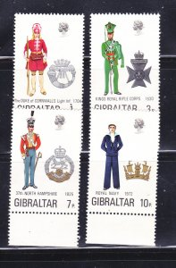 Gibraltar 286-289 Set MNH Military Uniforms (B)