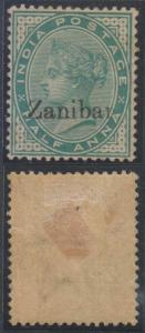BC ZANZIBAR 1895-96 Sc 3b SG #3K BLACK OVPT Zanibar HINGED MINT F,VF SCV$1,450