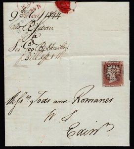 Great Britain, 1p Red 1844 KELSO distinctive Maltese on cover, Brandon cert