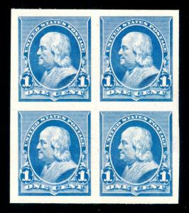 MOMEN: US STAMPS #219P4 PLATE PROOF ON CARD SUPERB