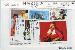 J22419 Jlstamps 1974 germay ddr mnh set  #1599-1603 art paintings