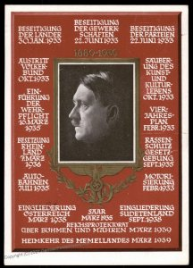 3rd Reich Hitler 50th Birthday 1939 Achievements Vienna Propaganda Card 100417