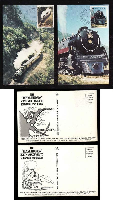 Canada-British Columbia-Royal Hudson train-2 postcards-