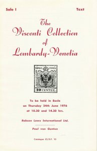 The Visconti Collection of  Lombardy - Venetia, Robson Lowe Int., June 24, 1976