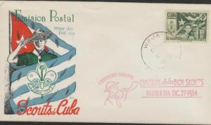O) 1954 CARIBE, SCOUTS, CAMP, COAT, FLAG, FDC XF