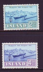 Iceland Sc 338-9 1961Reykjavik stamp set mint NH