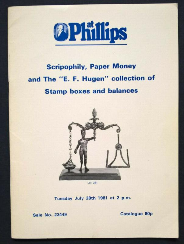 Auction Catalogue EF HUGEN Collection of STAMP BOXES and BALANCES